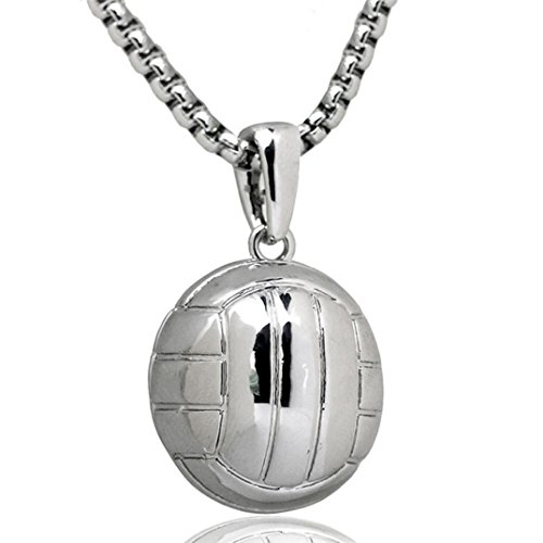 Nmch Unisex Volleyball Necklace Women Men Stainless Steel Chain Pendant Necklace Charm Jewelry Fashion Sport Fitness (Sliver)