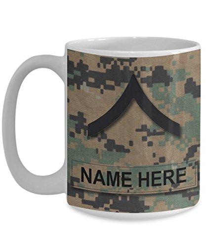 US Marine Corps Coffee Mug - Personalized Name & Rank, Customized Gift for USMC (15 oz - Rank - E-2, Private First Class, PFC, White - Rank - E-2, Private First Class, PFC)