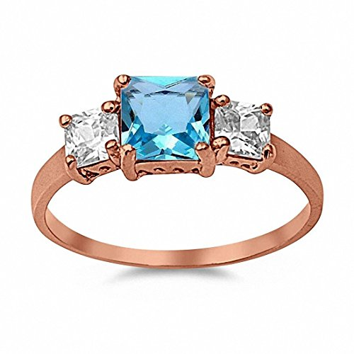 3 Stone Wedding Engagement Ring Simulated Princess Cut Square Blue Aquamarine & CZ Rose Tone 925 Sterling Silver,Size-8