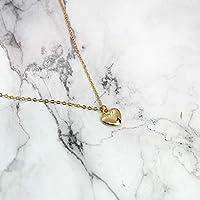 Collar de Corazón Liso en Chapa de Oro de 22K para Dama, Regalo para Pareja