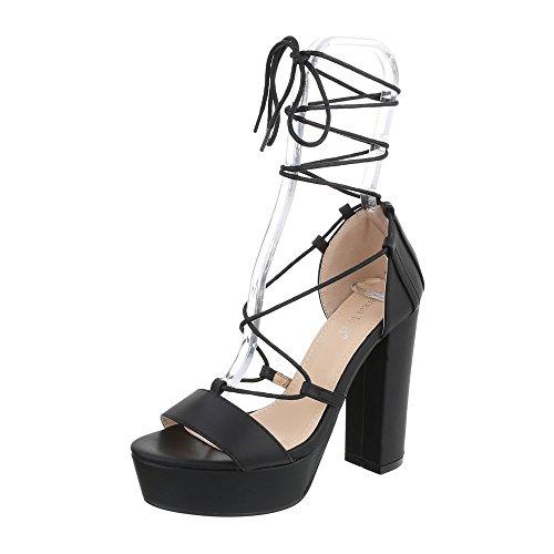 Ital-Design High Heel Sandaletten Damenschuhe Plateau Pump High Heels Schnürsenkel Sandalen/Sandaletten Schwarz