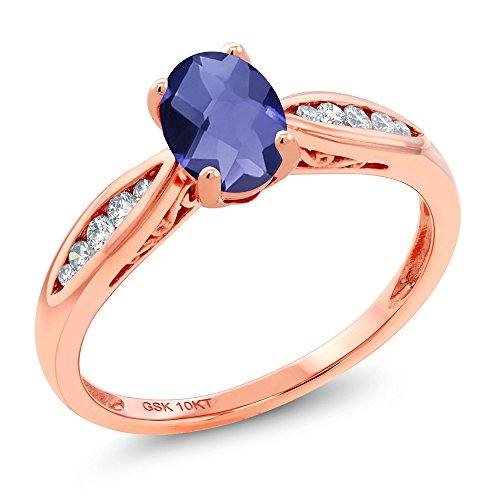 10K Rose Gold 0.72 Ct Oval Checkerboard Blue Iolite and Diamond Engagement Ring