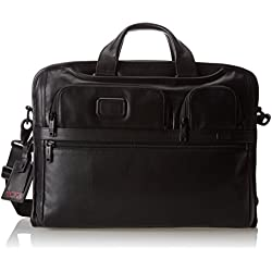 Tumi Alpha 2 Compact Large Screen Laptop Leather Brief, Black, One Size