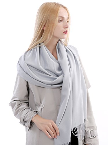 Vigeiya Solid Color Tartar Tassel Extra Large Soft Cashmere Blend Pashmina Warm Shawl Wrap Stole Scarf For Women (Light gray)