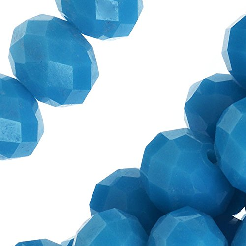 Chinese Glass Beads, Faceted Rondelles 7.5x10mm, 16 Inch Strand, Opaque Capri Blue
