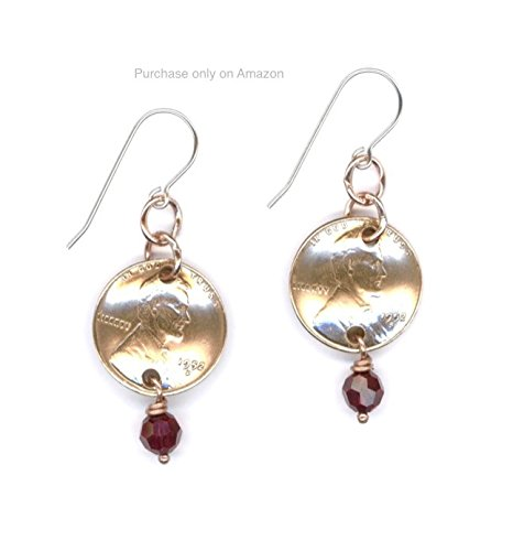65th Birthday Gift Penny 1953 Earrings Ideas Garnet Beads January Birthstones Coin Gifts