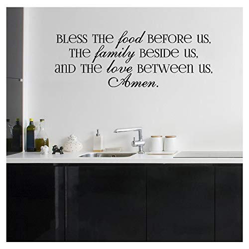 """Bless the Food Before Us, the Family Beside Us, and the Love Between Us, Amen Vinyl Lettering Wall Decal (Style A 16.5""""H x 47""""L, Black)"""