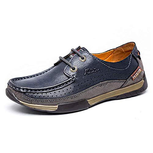 Dedo pie Talla Zapatos los Cuero Hombres al Color cómodos Hombres con HhGold los tamaño Aire para de Libre Ocasionales del Color 43 del 43 Azul de Azul Cordones Llano Zapatos Azul qT7nZ
