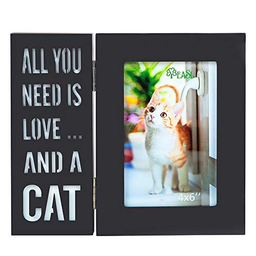 YEASL Wood Cat Picture Frame - 4x6 Inch Light Up Pet Picture Frame for Cat Memorial Gifts(All You Need is Love and A Cat)