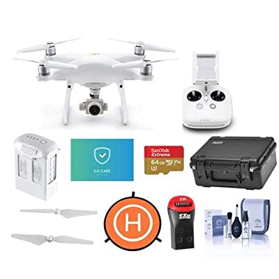 DJI Phantom 4 Pro V2.0 Quadcopter Drone with Remote Controller - Bundle With 64G B MicroSDHC Card, Care Refresh Warranty, Go Professional Carrying Case, Intelligent Battery, Propellers, And More