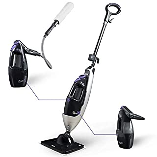 LIGHT 'N' EASY Steam Mop Cleaners 5-in-1 with Detachable Handheld Unit, Multi-Purpose Floor Steamer for Hardwood/Grout/Tile/Laminate, Handheld Cleaner for Kitchen/Clothes/Sofa/Window,Black(7688ANB