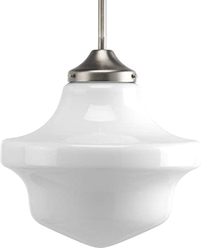Progress Lighting P5195-09 School House One Light Pendant, Brushed Nickel Finish with White Opal Glass