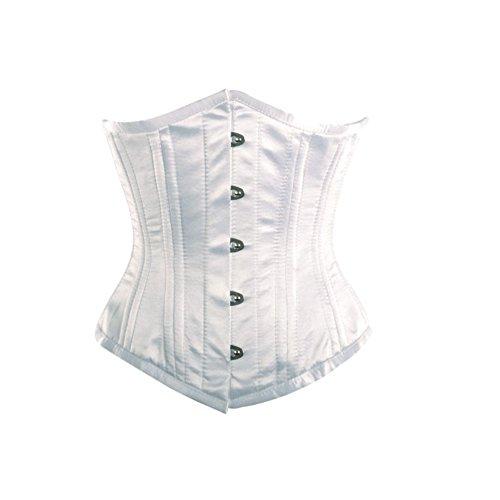 汗ただ要塞White Satin DoubleBone Goth Burlesque Waist Cincher Bustier Underbust Corset Top