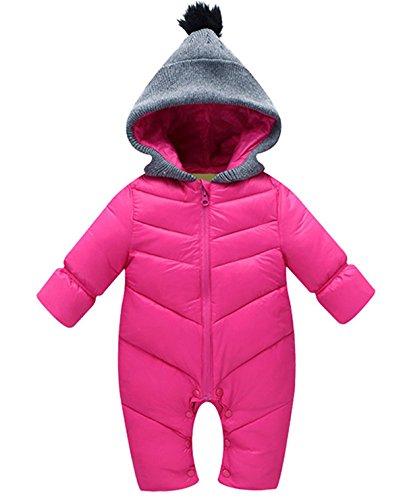 Happy Cherry Baby Overall Winter Baumwolle Schneeanzug Unisex Baby Schlafanzug Hoodie mit Kapuze Einfarbig Romper Langarm Pyjams Jumpsuit Outwear Wintermantel Sleepsuit Größe 100 - Rosa rot