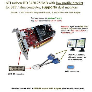 Epic IT Service - ATI Radeon HD 3450 for dual monitor setup (half size bracket, DMS-59 to dual VGA adapter)