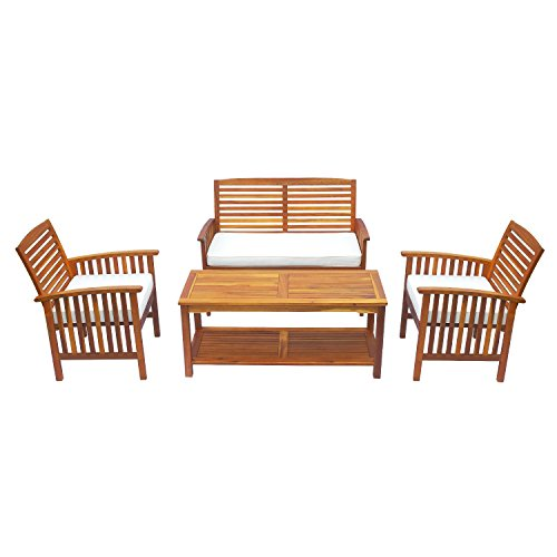 Cheap Outsunny 4 Piece Outdoor Acacia Wood Loveseat Coffee Table Lounger Conversation Set