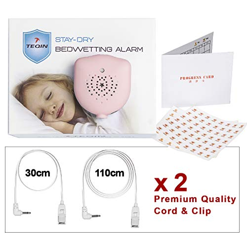 TEQIN Bedwetting Alarm for Kids, Rechargeable, Volume Control, 10 Selectable Sounds and Vibration