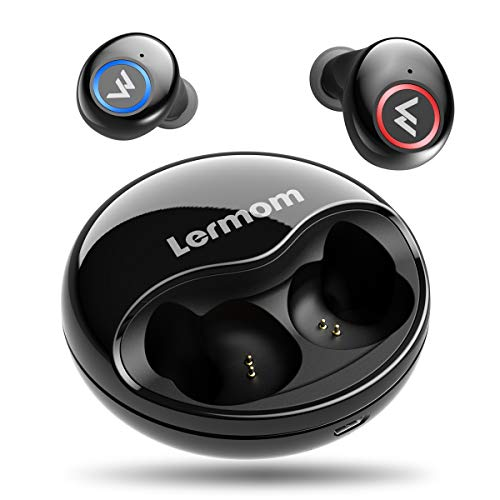 - Wireless Earbuds, Lermom Bluetooth 5.0 Headphones Wireless Auto Pairing True Stereo Sound Deep Bass Cordless Earphones Mini in Ear Headset with Microphone & Charging Case for Running and Sport