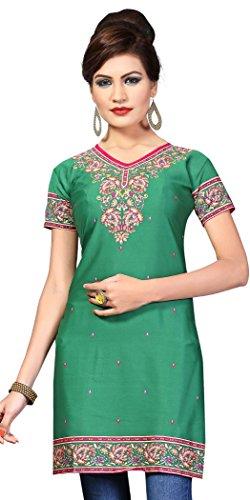 Womens Kurtas - L118L Indian Tunic Top Womens Kurti Printed Blouse India Clothing