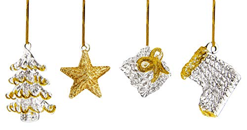 Spun Glass Ornaments, Christmas Tree Ornament Decorations, Set of 4, Tree, Star, Gift and Stocking, Whimsical Xmas Ornaments (Tree Glass Spun Ornament)