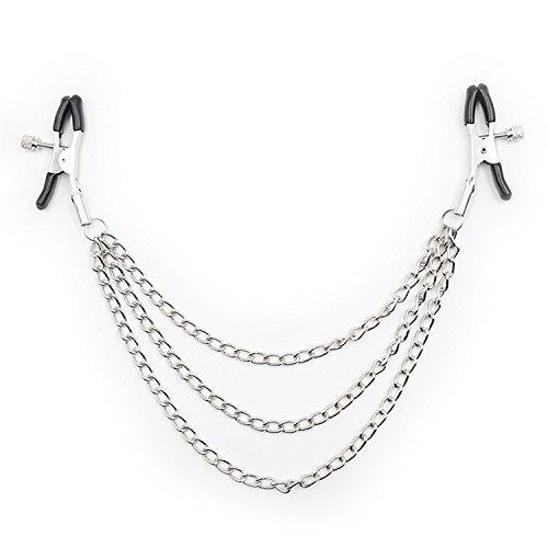 Female Nipple Breast Clamps with Chain Clips Stimulator Flirt Breast Nipple Clips Bondage BDSM Slave Womanizer Sex Toys Silver