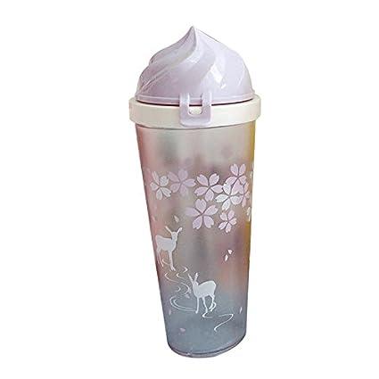 Guoke Botella de Agua La Encantadora Sakura Estuche De Plástico De Alta Capacidad Creativa con Los