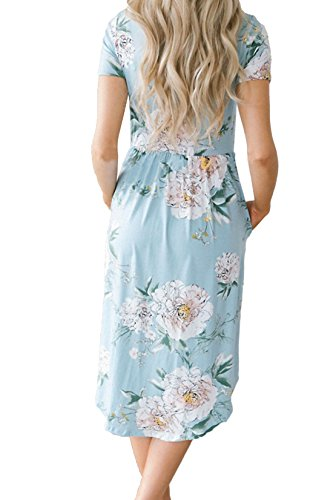 Blue Casual Floral Dresses Summer Women Midi Sleeve Short Print Allimy HaF1qxw6a