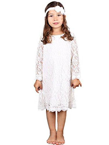 Bow Dream Flower Girl's Dress Off-White with Headband 3 (White Vintage Lace Flower)