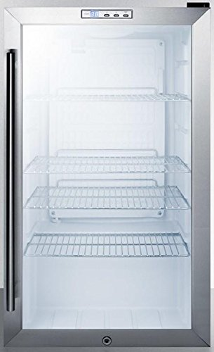 Automatic Summit Commercial Refrigerator - SCR486LBI 19 Commercially Approved Compact Beverage Center with 3.35 cu. ft. Capacity 4 Adjustable Chrome Shelves Automatic Defrost and Lock in Stainless Steel