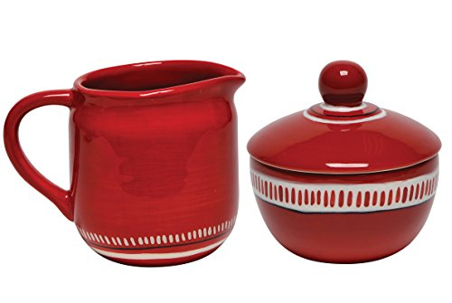 Thompson & Elm M. Bagwell Colors Ceramic Sugar and Creamer Set, Red