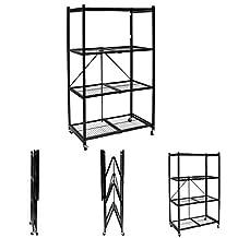 Origami Storage Solutions R1407W Four Shelf Steel Collapsible Garage Storage Rack w/ Wheels