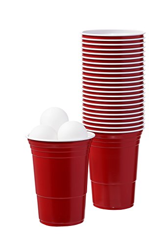 Beer Ping Pong Balls and Red Plastic Drinking Cups Washable Perfect for Beer Pong Games
