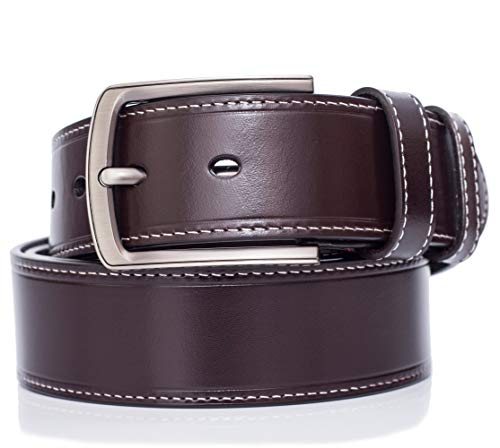 Full-grain Leather Belt For Men Top Quality, pin buckle, for 34''-36''/3BROWN XS by MILEKE