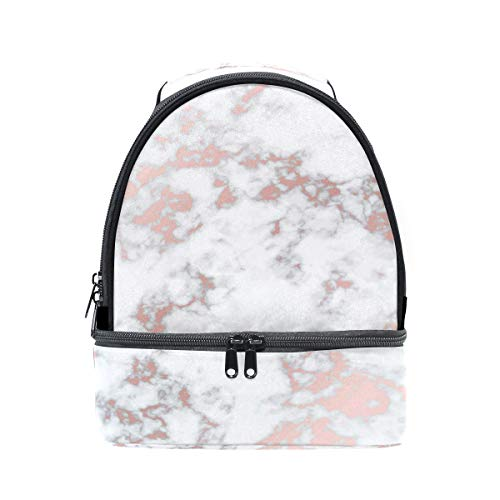 ALAZA Hipster Marble Rose Gold Portable Shoulder Double Lunch Box Bag Insulated Lunch Tote Outdoor Bag
