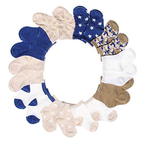BARE HUGS Infant Boys 10 Pk All Weather Multicolored Socks Brown/White/Blue Star 12-24 ()