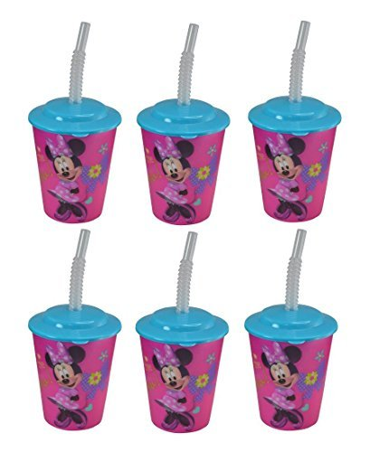 6-Pack Disney Minnie Mouse 12oz Lenticular Tumbler Cup with Lid and Straw -
