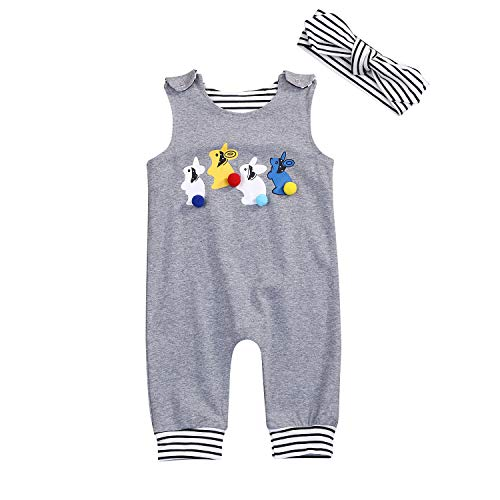 Newborn Baby Boys Girls Cotton Rabbit Jumpsuit Romper Outfit Sleeveless Creepers Bodysuit Clothes (12-18Months, Gray)