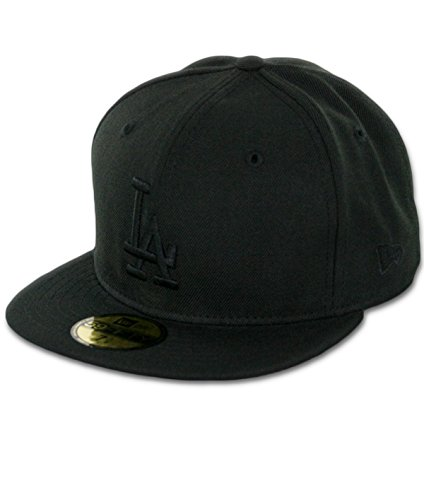 New Era 59Fifty Los Angeles LA Dodgers Blackout Fitted Hat (Black) Men's (Blackout New Era Hat)