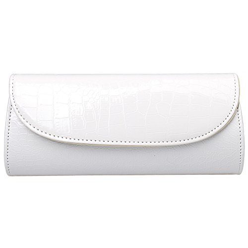Fashion Road Evening Clutch, Croc Skin Embossed Clutch Purses for Women, Handbags for Party and Wedding White ()