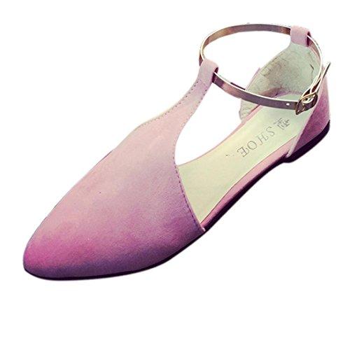 Deesee (tm) Femmes Printemps Été Chaussures Point Toe Slip-on Chaussures Plates Confortables Appartements Rose