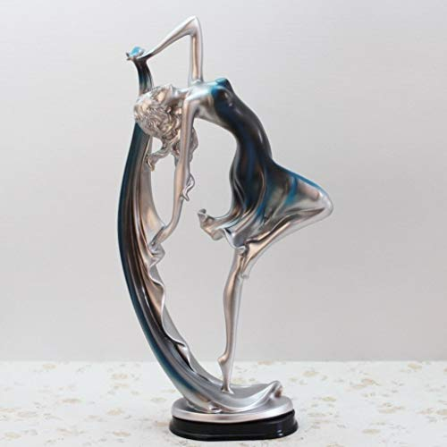 JDSHSO Creative Resin Dancing Girl Statue Modern Ornaments European Elegant Lady Figurines Desktop Crafts Dancer Sculptures
