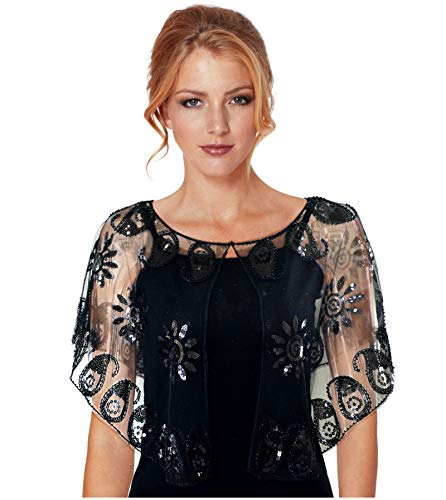 - L'VOW Women's Vintage 1920s Shawl Floral Beaded Sequin Evening Cape Shrug Flapper Cover Up (X- Black)