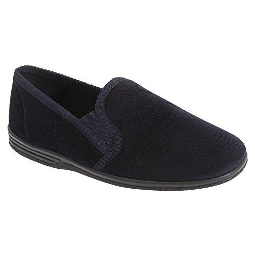 Zedzzz - Zapatillas de andar por casa a rayas modelo Lewis hombre caballero Azul marino/ Gris