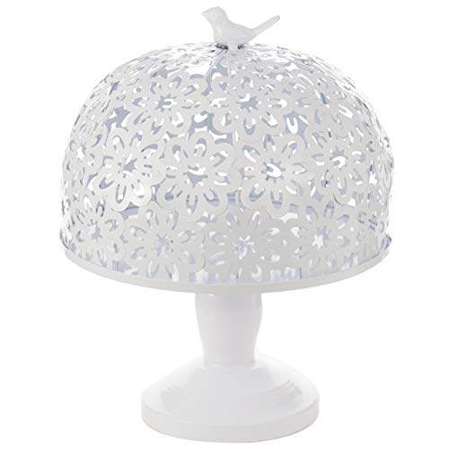 Cake Stand and Dome Lid, Cake Plate Display Holder Metal Cupcake Food Serving Stand Dessert Fruit Tray Platter for Wedding Birthday Party Christmas Holiday Favor, Pedestal with Dome Cover, White ()