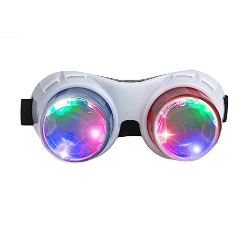 Light up Glasses, DAXIN DX LED Flashing Glasses Goggles Rave Party Costume Glasses Eyewear Cool Goggles Toys for Kids Adults (White)