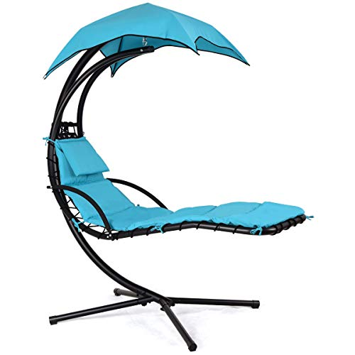 (Giantex Hanging Chaise Lounger Swing Chair with Arc Stand, Porch Swing Hammock Chair with Removable Canopy, 330lbs Weight Capacity (Blue))