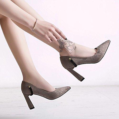 nuevo cierre ZHZNVX boca de de solo zapatos de vacía la irregular muelle zapatos superficial la de punta alto El con tacón zapatos satén black los mujer qttrUw5