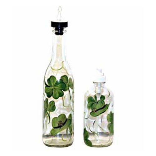 ArtisanStreet's Shamrock Design Pour Bottle & Soap Pump Dispenser Set. Hand Painted by ArtisanStreet