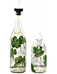 Gain ArtisanStreet's Shamrock Design Pour Bottle & Soap Pump Dispenser Set. Hand Painted saleoff