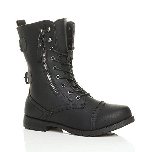Ajvani Womens Ladies Flat Low Heel Lace up Zip Combat Army Military Ankle Boots Size Black Matte 0k3OLcc2